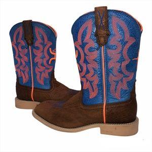 Twisted X YHY0001 Kids Western Hooey Cowboy Neon Blue Boots -1.5